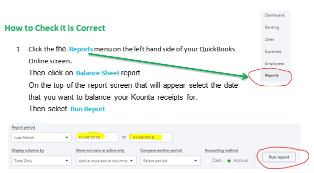 Reconcile Kounta Receipts in QBO